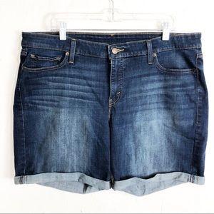 Levi Blue Denim High Waisted Cuffed Hem Shorts